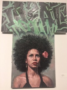 """Ideal 2.0"" by Tim Okamura. When I tell you I am in love and obsessed with this painting. I mean, c'mon - this bad ass 'fro with a rose in it on this gorgeous woman ?!?! I need this in my home."